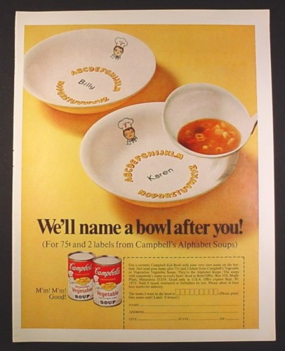 Magazine Ad for Campbell's Soup Ceramic Soup Bowl with Your Name Offer 1970 10 3/8 by 13 1/4