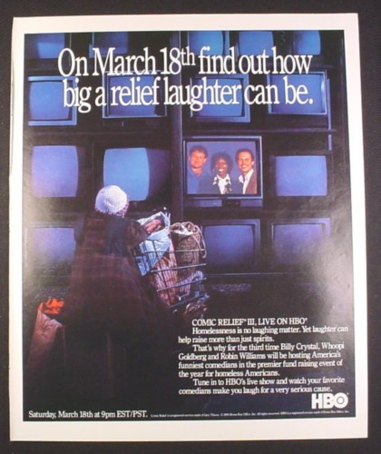 Magazine Ad for Comic Relief III HBO TV Special, Billy Crystal, Robin Williams, Whoopi Goldberg