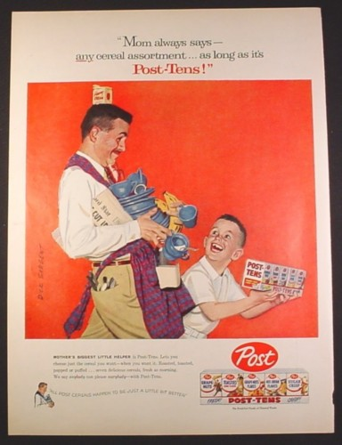 Magazine Ad for Post Post-Tens Cereal Pack, Dad Carrying Bowls & Cups, 1957, 10 3/8 by 13 7/8