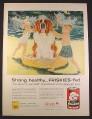 Magazine Ad for Friskies Dog Food Kids & Saint Bernard Dog in Wading Pool 1957