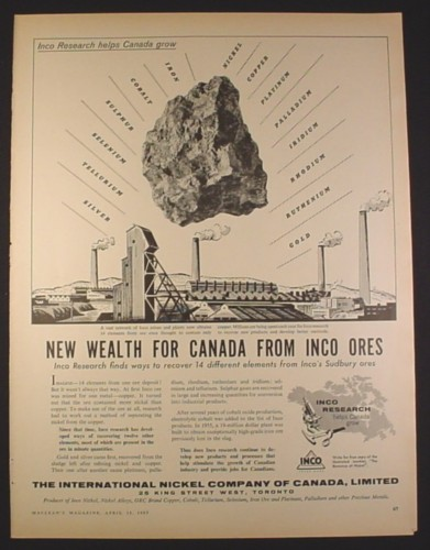 Magazine Ad for Inco Ores, International Nickel Company, Mining, 1957, 10 3/8 by 13 7/8