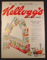 Magazine Ad for Kellogg's Variety Pack Cereals, Train Pulling Boxes, 1953, 10 3/8 by 13 7/8