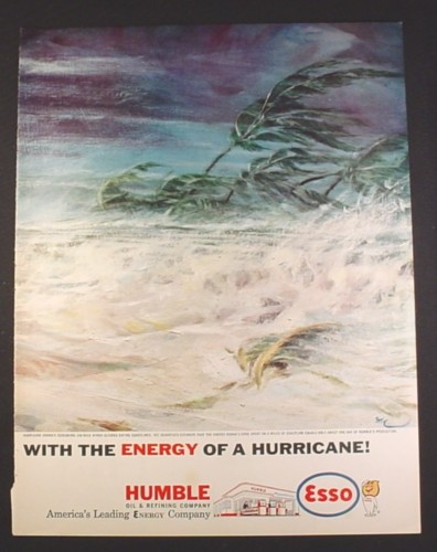Magazine Ad for Esso Humble Oil & Refining, Gas Station, Energy Of A Hurricane, 1961