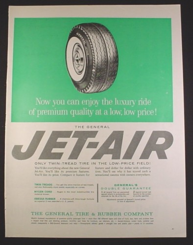 Magazine Ad for General Tire, Jet-Air Twin-Tread Tire, Jet Air, 1961, 10 1/2 by 13 5/8
