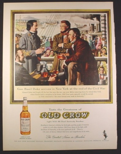 Magazine Ad for Old Crow Kentucky Bourbon General Basil Duke Civil War 1961 10 1/2 by 13 5/8