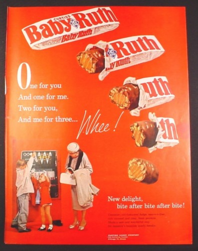 Magazine Ad for Curtiss Baby Ruth Chocolate Bar, Kids at Red Vending Machine, 1961