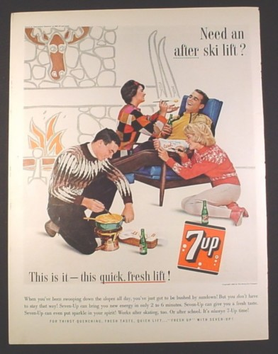 Magazine Ad for 7UP Seven Up Soft Drink, Ski Chalet, Cast on Arm, 1963, 10 1/2 by 13 5/8