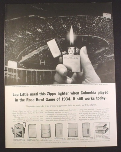 Magazine Ad for Zippo Lighters, 6 Models, 1934 Rose Bowl Game Lou Little 1961 10 1/2 by 13 5/8