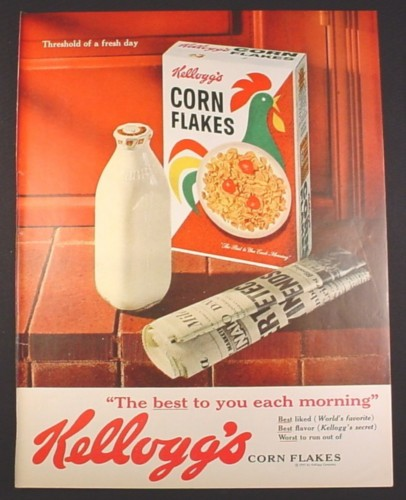 Magazine Ad for Kellogg's Corn Flakes Cereal Box, Newspaper, Glass Bottle of Milk, 1961