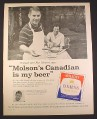 Magazine Ad for Molson Canadian Lager Beer, Ron Stewart, Ottawa Roughriders, 1961, 10 1/2 by 13 3/8