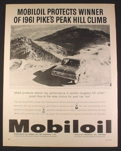 Magazine Ad for Mobiloil, Winner of 1961 Pike's Peak Hill Climb, Louis Unser, 1961, 10 1/2 by 13 3/8