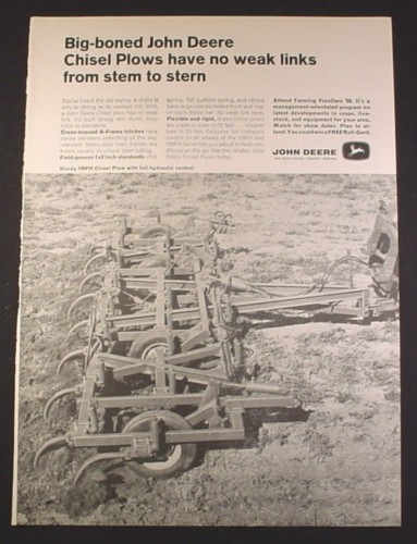 Magazine Ad for Big Boned John Deere 100FH Chisel Plow, 1968, 10 1/4 by 13 7/8