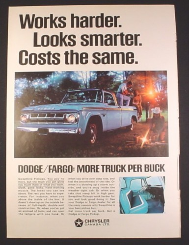 Magazine Ad for Dodge Fargo Pickup Truck, Blue, Blue Interior, 1968, 10 1/4 by 13 7/8