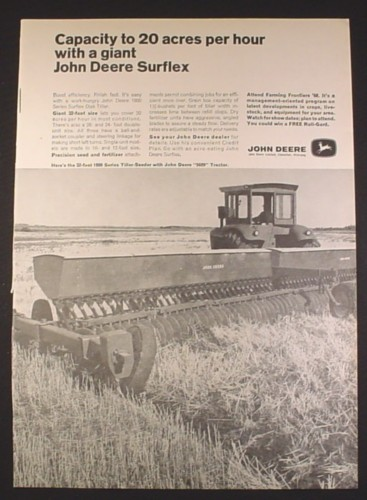 Magazine Ad for John Deere 1800 Series Surflex Disk Tiller, Farm Implement, 1968, 10 1/4 by 13 7/8