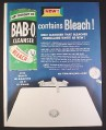 Magazine Ad for Bab-O Cleanser, Contains Bleach, Original Scrubbing Bubble, 1955, 10 1/2 by 13 1/2