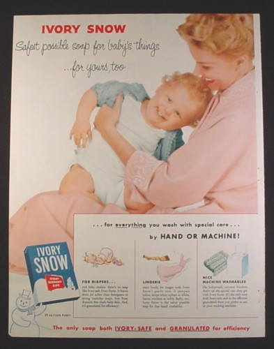 Magazine Ad for Ivory Snow Laundry Soap, Mother & Very Large Baby, 1955, 10 1/2 by 13 1/2
