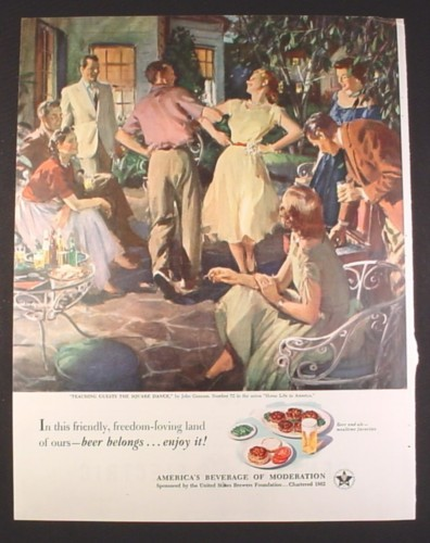 Magazine Ad for Beer Belongs, Teaching Guests To Square Dance, John Gannam, 1952