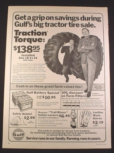 Magazine Ad for Gulf Servico Center, Tractor Tire Sale, Wayne & Shuster, 1971, 10 1/4 by 14 1/8