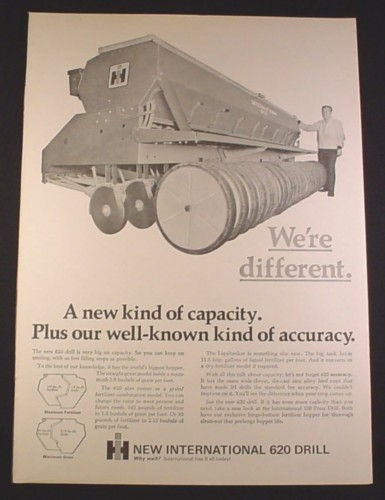 Magazine Ad for International Harvester 620 Drill, Farm Implement, 1971, 10 1/4 by 14 1/8
