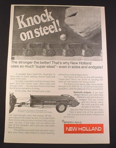 Magazine Ad for New Holland Manure Spreader, Farm Implement, 1972, 10 1/4 by 14 1/8