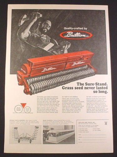 Magazine Ad for Brillion Sure-Stand Grass Seeder, Farm Implement, 1972, 10 1/4 by 14 1/8