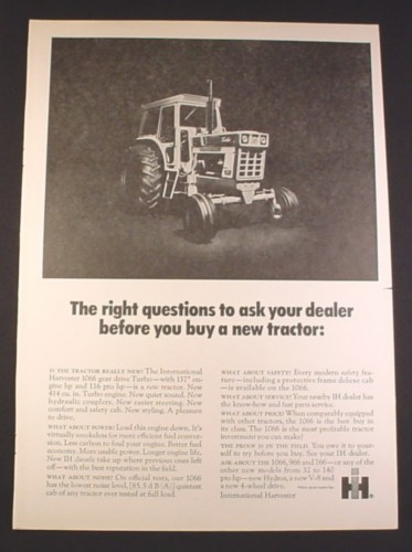 Magazine Ad for International Harvester 1066 Gear Drive Turbo Tractor, 1972, 10 1/4 by 14 1/8