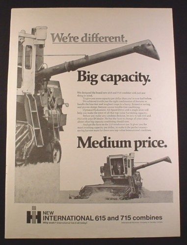 Magazine Ad for International Harvester 615 and 715 Combines, 1971, 10 1/4 by 14 1/8