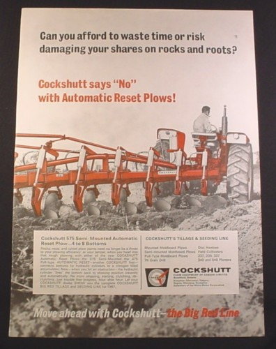 Magazine Ad for Cockshutt 575 Semi-Mounted Automatic Reset Plow, Farm Implement, 1967