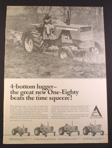 Magazine Ad for Allis Chalmers One Eighty Tractor, 4 other Models, Allis-Chalmers, 1968