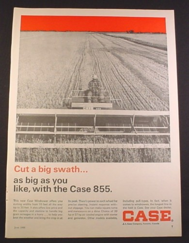 Magazine Ad for Case 855 Swather, Farm Implement, 1968, 10 1/4 by 14 1/8