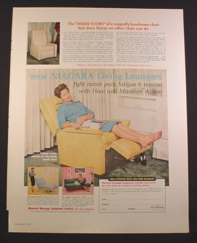 Magazine Ad for Monarch Massage Equipment, Niagra Living Loungers Furniture, 1962
