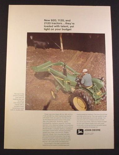 Magazine Ad for John Deere 920 Tractor, 1971, 10 1/4 by 14 1/4