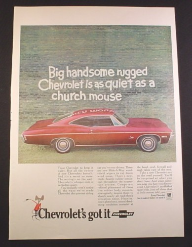 Magazine Ad for Chevrolet Impala, Maroon or Purple Color Car, 1968, 10 1/4 by 14 1/8