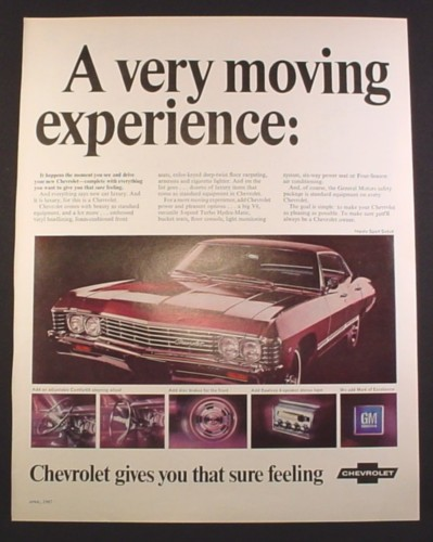 Magazine Ad for Chevrolet Impala Sport Sedan Car, Front & Side View, 1967, 10 3/8 by 13 1/4