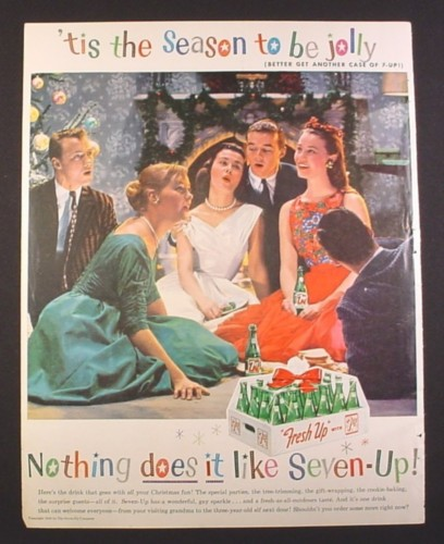Magazine Ad for 7UP Seven Up, Singing Christmas Carols, Plastic Case of 24 Bottles, 1958