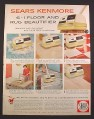 Magazine Ad for Sears Kenmore 6 In 1 Floor And Rug Beautifier, 1958, 9 3/4 by 12 1/2