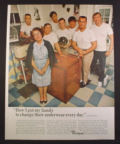 Magazine Ad for Whirlpool Washer, How I Got My Family To Change Their Underwear, 1968