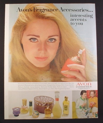 Magazine Ad for Avon Cosmetics, Fragrance Accessories, 1968, 10 1/2 by 13 1/4