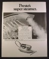 Magazine Ad for Presto Super Steamer Iron, 1968, 10 1/2 by 13 1/4