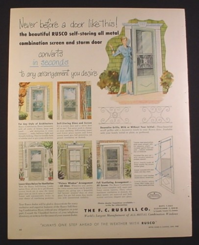 Magazine Ad for Rusco Metal Screen & Storm Doors, 1952, 9 3/4 by 12 1/2