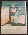 Magazine Ad for American Standard Bathrooms, Pink Bathtub Toilet & Sink, 1952, 9 3/4 by 12 1/2