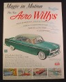 Magazine Ad for Aero Willys Green Car, White Wall Tires, 1952, 9 3/4 by 12 1/2