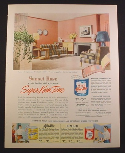 Magazine Ad for Super Kem-Tone Paints, Sunset Rose Color, 1952, 9 3/4 by 12 1/2
