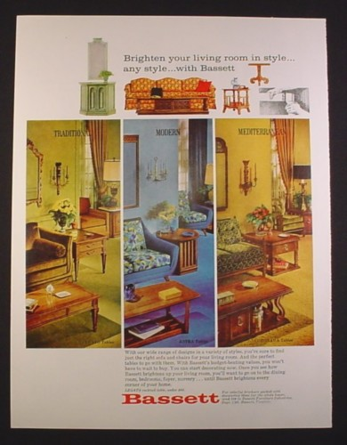 Magazine Ad for Bassett Living Room Furniture, Traditional Modern Mediterranean, 1968