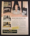 Magazine Ad for American Standard Bathrooms, Corner Tub Shower, Platinum Gray, 1954