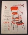 Magazine Ad for Cosco Step Stool, Red & Silver, Model 4-D, 1954, 9 3/4 by 12 1/2