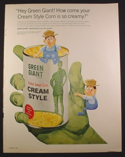 Magazine Ad for Green Giant Cream Corn, Farmers on Giant's Hand, 1966, 10 1/2 by 13 3/8