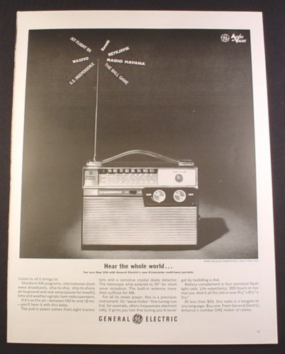 Magazine Ad for GE General Electric 8 Transistor Multi Band Portable Radio, 1963, 10 1/2 by 13 3/4