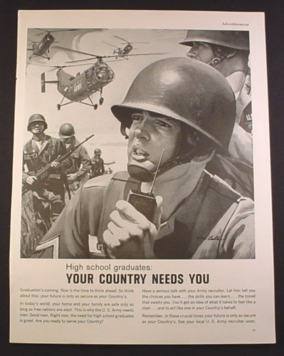 Magazine Ad for Army Recruitment, Your Country Needs You, 1963, 10 1/2 by 13 3/4