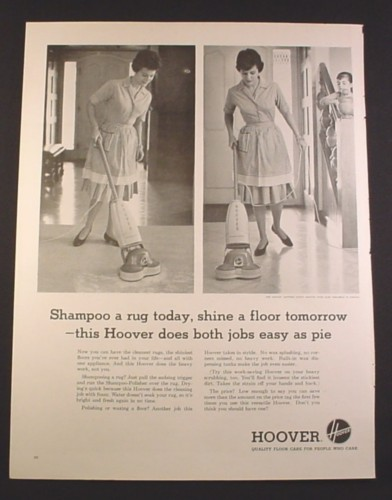 Magazine Ad for Hoover Shampoo Polisher, Rug Today, Floor Tomorrow, 1963, 10 1/2 by 13 3/4